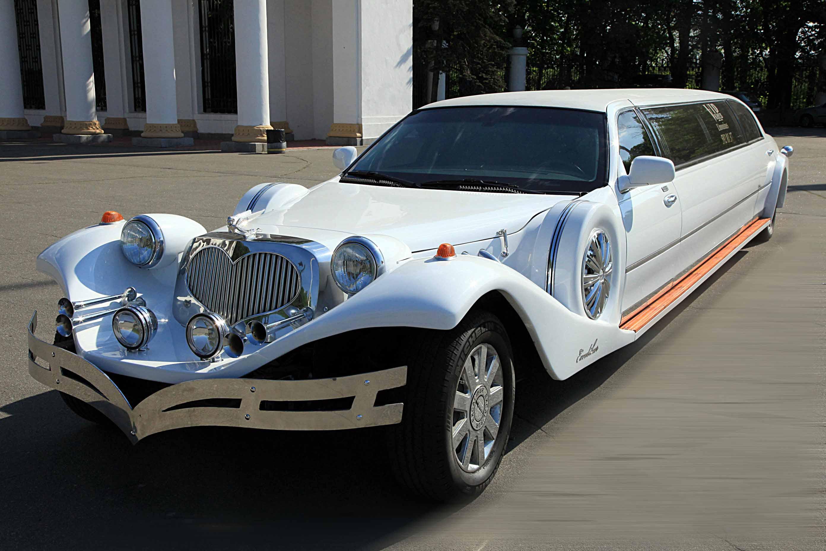 Ретро лимузин Excalibur белый на прокат в Киеве цена